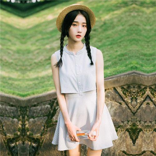 条纹假两件连体裙