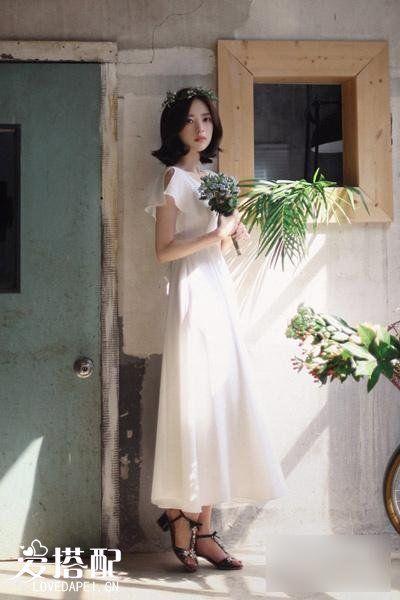 纯色雪纺连衣裙这样穿,美若天仙!