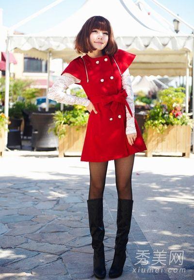 冬季连衣裙搭件大衣完美过冬